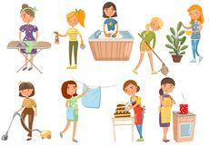 jovem-mulher-que-faz-trabalhos-domésticos-diferentes-limpeza-da-dona-de-casa-cozinhando-lavando-passando-o-vetor-dos-desenhos-107052963